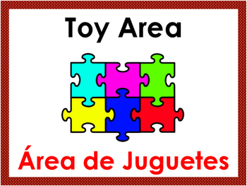 Bilingual Preschool Area Signs with Red Border