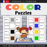 Bilingual Puzzle Color Cards - French / Turkish