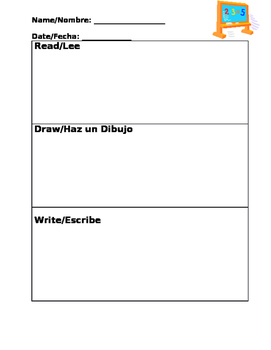 Bilingual Read, Draw, Write (RDW) Graphic Organizer