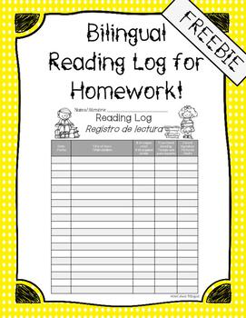 Bilingual Reading Log for Homework FREEBIE!