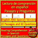 Reading Comprehension Passages and Questions in Spanish AND English Information
