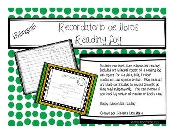 Bilingual Reading Log - Recordatorio de Lectura