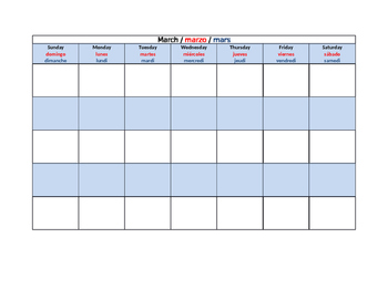 Bilingual (Really Multilingual!) Blank Calendar Template for Any Year