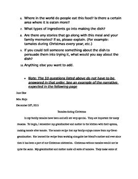 Bilingual Recipe Book and Narrative Project