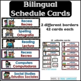 Bilingual Schedule Cards English and Spanish