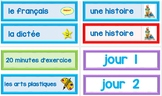Menu du jour - Bilingual Schedule Charts for the FI Classroom