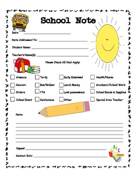 Bilingual School Note Form for Parents