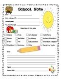 Bilingual School Note Form for Parents