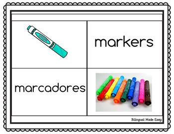 Bilingual School Vocabulary Matching Game
