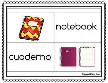 Bilingual School Vocabulary Matching Game Center in English & Spanish