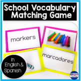 Bilingual School Vocabulary Matching Game Center in Englis