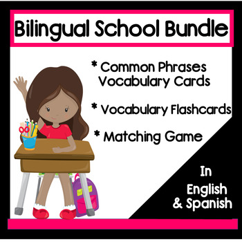 School Vocabulary Flashcards and Matching Game MegaPack in English & Spanish