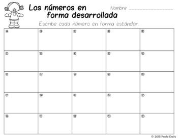 Spanish Bilingual Scoot - Expanded Notation / Forma desarrollada