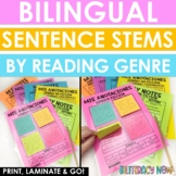 Bilingual Sentence Stems by Genre - Sticky Note Reading Responses