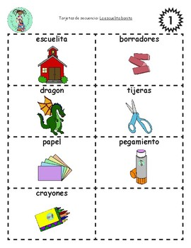 Bilingual Sequencing Cards: La escuelita bonita