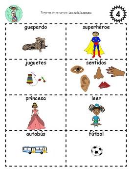 Bilingual Sequencing Cards: Leo toda la semana
