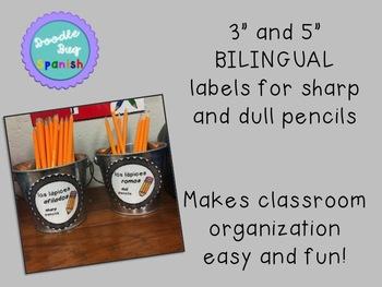 Bilingual Sharp/ Dull Pencil Labels