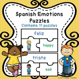 Bilingual Spanish Emotions and Feelings Game Puzzles ELL ESL Newcomer Activity
