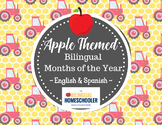 Bilingual Spanish English Calendar Months of the Year Apples