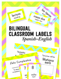 Bilingual Classroom Labels & Signs ~ Electric Chevron {Spanish-English}
