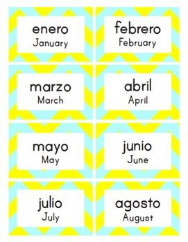 Bilingual Classroom Labels & Signs ~ Electric Chevron {Spanish-English}