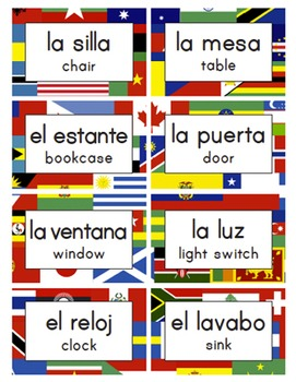 bilingual classroom labels amp signs world flags spanish