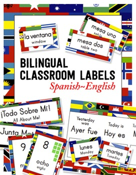 Bilingual Classroom Labels & Signs ~ World Flags {Spanish-English}