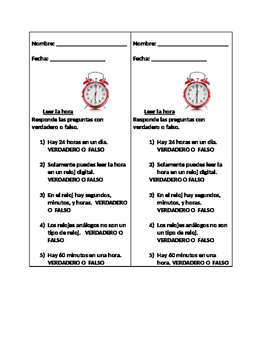 Bilingual (Spanish/English) True or false- telling time