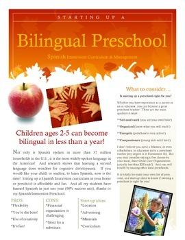 Bilingual Spanish Immersion Preschool Start Up
