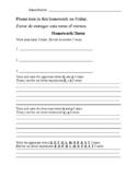 Bilingual (Spanish) Kindergarten Homework 7