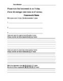 Bilingual (Spanish) Kindergarten Homework 4