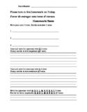 Bilingual (Spanish) Kindergarten Homework 6