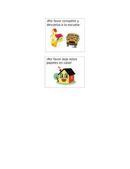 Bilingual Spanish Organization Labels for the Homework Folder