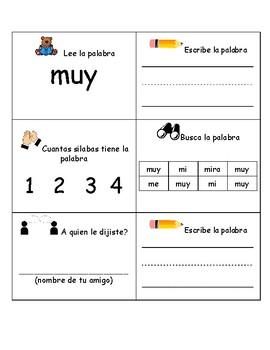 Bilingual-Spanish Sight Word Practice 3