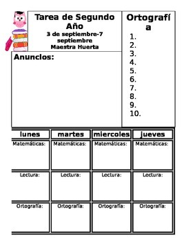 Bilingual / Spanish Weekly Homework Sheet