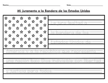 Bilingual Spanish/English Pledge of Allegiance On American Flag