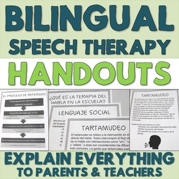 Bilingual Speech Therapy Explanation Handouts for Parents in Spanish and English