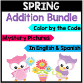 Bilingual Spring Addition Color by the Code and Mystery Pi
