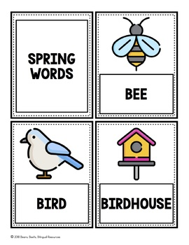 Bilingual Spring Word Cards