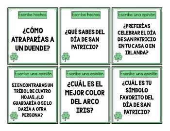 Bilingual St. Patrick's Vocabulary & Writing Bundle