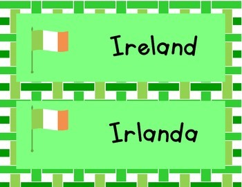 Bilingual St. Patrick's Day Word Wall (English and Spanish)