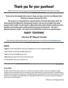 Spanish & English Student Information Sheet