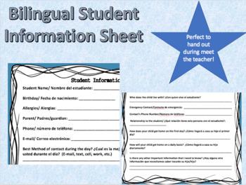 Bilingual Student Information Sheet Spanish/English