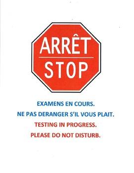 """Bilingual """"Testing In Progress"""" Door Sign (English/French)"""