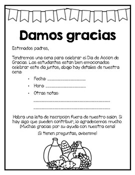 Bilingual Thanksgiving Feast Parent Note