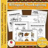 Bilingual Thanksgiving PreK Activity Pack