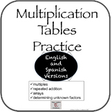 Bilingual: Times Tables Practice For  Centers/IWT (BUNDLE)