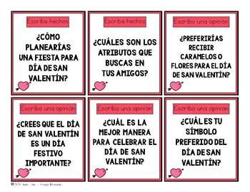 Bilingual Valentine Writing Prompt Activities