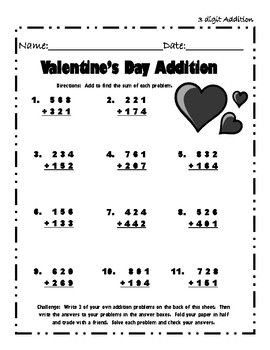 Bilingual Valentine's Addition and Subtraction Packet