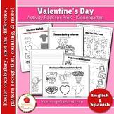 Bilingual Valentine's Day Activity Pack for PreK & Kindergarten
